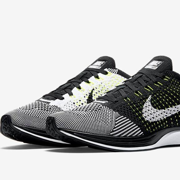 Nike Shoes | Flyknit Racer Oreo Volt Running Shoe | Poshmark